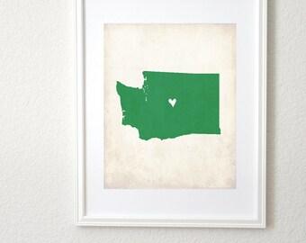 Washington Rustic State Map. Personalized Washington Map. Washington Wedding Map. Wedding Gift. Anniversary Gift. Art Print 8x10.