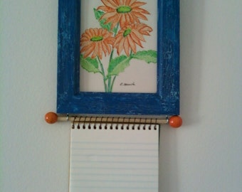 Original Pen and Ink Orange Daisies Drawing in an Upcycled Blue Frame Noteholder