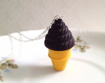 Miniature Chocolate Ice Cream Cone Necklace. Long Silver Chain. Summer. Kawaii. Cute Necklace. Unique. Gifts for Her. Under 15. Food. Fun