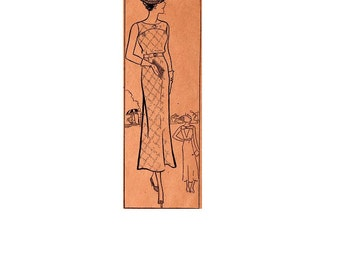 Rare 1930s Dress Open Back Great Gatsby Garden Style Anne Adams Sewing Pattern 2606 Sleeveless Ankle Length  Bust 32