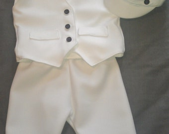Baby Boy Baptism Outfit, Boy Christening Outfit, Boy Blessing Outfit with Hat