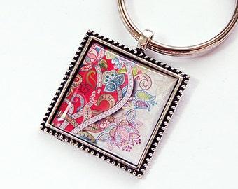 Pink Paisley keychain, Key chain, keychain, key ring, Paisley key ring, keyring, stocking stuffer, pink, paisley, under 10 (4381)
