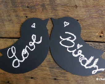 Wedding Chalkboards Love Birds Chalk Boards Large Photo Props Wedding Chair Signs Rustic Chic Wedding Signs Cottage Wedding