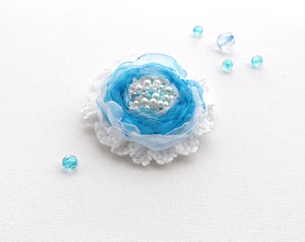 Organza Flower Brooch - Crochet Brooch - Fabric Flower - Corsage -  Blue Flower - Party Wedding Accessory