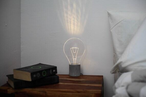 Lampe de chevet lampe ampoule lampe led moderne en b ton - Lampe de chevet ampoule ...