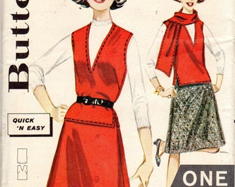 "Easy 1960s Girls Jerkin or Vest & Skirt Pattern- Size 12, Bust 31"" - Butterick 2431 uncut"
