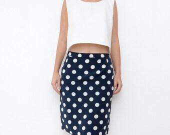 Vintage navy blue dot women silky pencil skirt / medium designer mini skirt