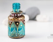 Mini hand painted bottle / Art-deco flacon - NikaEthnica