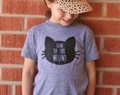 How Ya Like MEOW? Screenprint T Shirt - Kids Tee Shirt - Kitty Toddler  T Shirt -  Grey Vintage Feel Shirt - Cat Tee