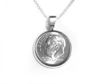 """Dime Necklace Pendant - """"Dime In"""" Diamond Necklace Play on Words - Free Shipping"""