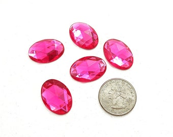 18x25mm Pink Oval Shaped Acrylic Flat Back Rhinestones, Bright Pink Oval Rhinestones, 18x25 Pink Flatback Rhinestones, No Holes, 5 Pieces