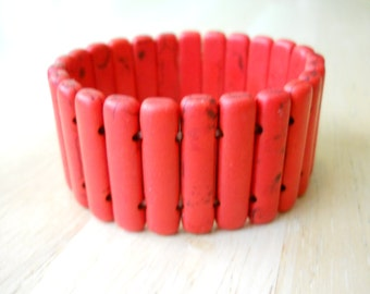 Red Turquoise Beads Stretch Cuff Bracelet