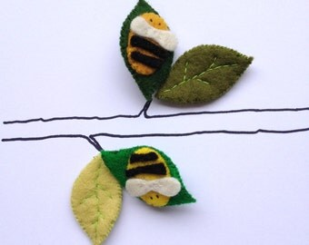 Pin Brooch Felt Bumble Bee - choose your colour