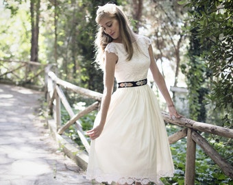 Ivory Wedding Dress, SuzannaM Designs, Short Wedding Dress, 50s Wedding Dress, Lace Bridal Dress, Tea Length Dress, Wedding Gown, Josephine