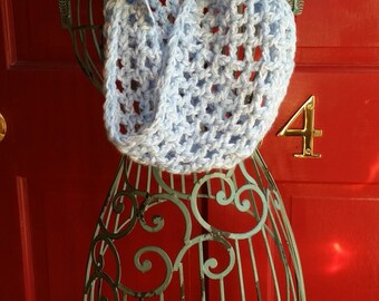 Open-Weave Crocheted Cowl 11x28 Blue & White Variegated Scarf