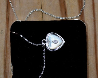 Beautiful antique 12k gold filled art deco style sterling silver heart pendant with mother of pearl-like and diamond chip / wedding / bridal