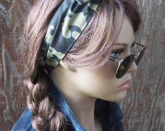 Camo print DOLLY BOW wire headband camo hair scarf wrap tie hat band cotton fabric camouflage head wrap camo hair bow camo headband women