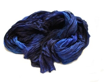 blue silk scarf - Anemona -  royal blue, navy blue, blue silk scarf.