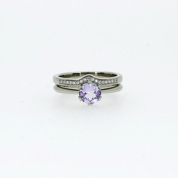 engagement ring set light violet amethyst ring engagement