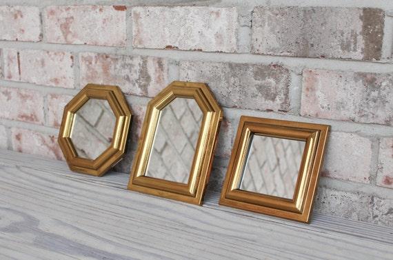Vintage gold framed mirror set of 3 burwood small plastic for Small gold framed mirrors
