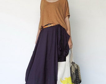 NO.123 Violet Cotton Jersey Mega Pocket Maxi Skirt