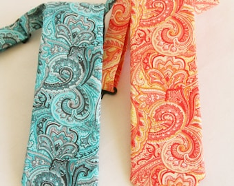 Boys Necktie, Orange and Yellow Paisley Neck tie, Blue and Gray Paisley Necktie, Infant, Toddler and Teen Tie, Ringbearer, Teal and Grey Tie