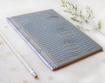 Disturbed Mesh Embroidered A5 Notebook. Men's Book. Grey Journal. Science Stitch Art Book. Graphic Design Journal. Geometrical Notebook