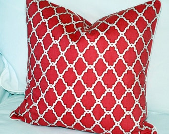 Ferran Moroccan Trellis Pillow Covers - Rasberry Coral White