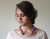 Silk Rope Necklace, Lilac Bib Necklace, Silver Statement Necklace, Lavender Flower Collar, Women's Gift, Christmas Gift, ReddApple