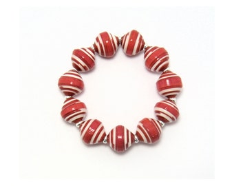Red and White Handmade Paper Bead Bracelet