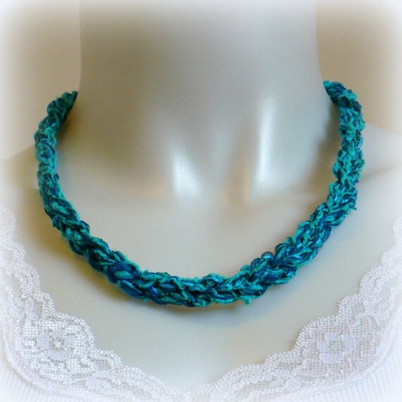 Teal and Turquoise Silk Ribbon Necklace, Crochet Necklace, Fiber Jewelry, Gifts for Her, Aqua Necklace, Handmade in USA
