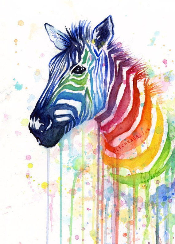 Zebra watercolor rainbow painting gicl e print zebra art for Art print for sale