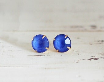 Cobalt Blue Stud Earrings, Royal Blue Post Earrings, Rhinestone Stud Earrings
