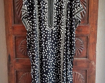 Silk polka dot caftan summer maxi dress