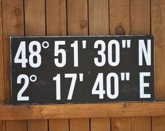 Latitude Longitude Sign, Custom Wood Wedding Sign, Bridal Shower Gift, Wedding Gift, Anniversary gift, Engagement Gift, Important Date Sign
