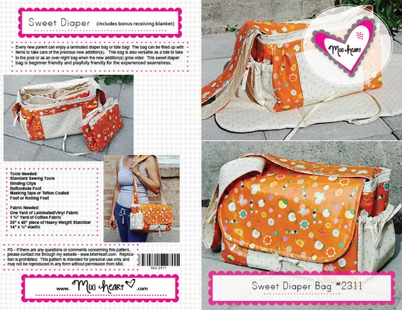 Sweet Diaper Bag with Changing Pad (Adult-Size) PDF Pattern