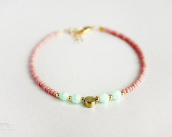beaded coin bracelet - pink, mint green and gold friendship bracelet, dainty, layering jewelry - gift for her under 20usd
