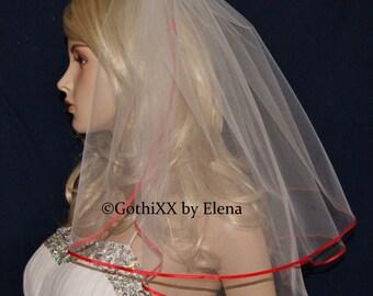 "Wedding Veil Shoulder length Ivory White Beige Pink Red Black Purple 2 Tiers 18"" 20"" Length"