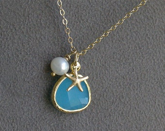 Aqua Blue Starfish Necklace in Gold - Ocean Blue with Pearl - Gold Filled - Beach Jewelry - Beach Bridesmaid Necklaces Gift Set