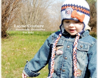 The Original- Detroit Tigers Crochet Earflap Hat with Vintage Tigers Patch and bow / Major League Baseball Baby / Baseball Baby / Item B114