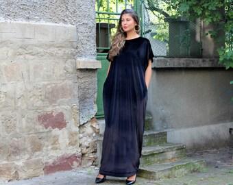 Black Maxi dress/ Velvet dress/ Long dress/ Plus size dress/ Caftan/ Elegant dress/ Velvet dress/ Long maxi dress