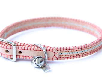 Cat Collar - Coral/Teal - Embroidered Leather