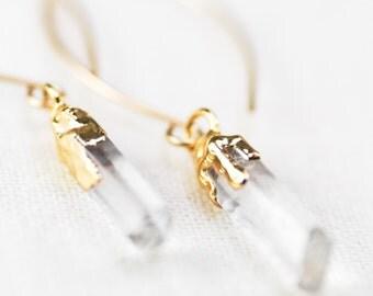 Hokupa'a earrings - quartz point earring, gold dangle earring, clear quartz and gold earring, gold boho earring, bohemian jewelry,  hawaii