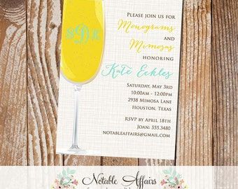 Monograms and Mimosas Bridal Shower Brunch Couples Shower Party Invitation