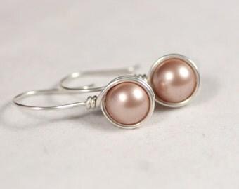 Beige Pearl Earrings Wire Wrapped Jewelry Handmade Sterling Silver Jewelry Handmade Swarovski Pearl Earrings Pearl Drop Earrings