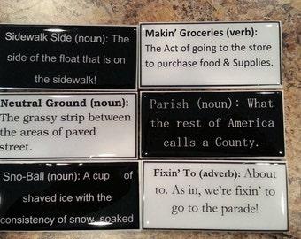 New Orleans slang Magnets, Set of 6 fun New Orleans Magnets, Funny New Orleans phrases, Funny Magnets, Set of 6, NOLA slang, Yat, cajun