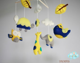 Yellow forest baby mobile - Animals baby mobiles - Autumn hanging mobiles - Autumn forest - Yellow and blue