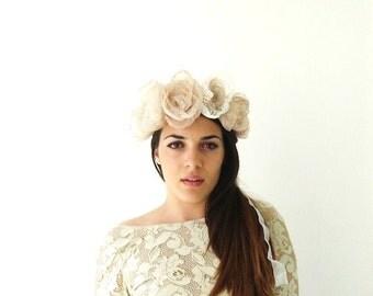 Bridal Headpiece Large Bridal Flower Crown Floral Wreath Wedding Hair Accessory Hair Flower Boho Goddess Wedding Crown Woodland Nymph