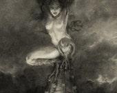 SALE Gothic Vampire Charcoal Drawing 5x7 Print Fantasy Art Dark Gargoyle Harpy