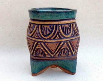 Tripod Planter, Jar, or Mug - Hand Built and Deep Carved - Blue Green Tan & Brown - Pot Belly